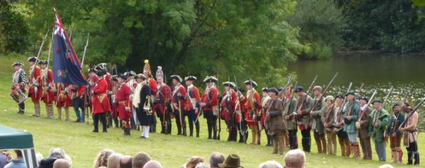 Reenactors assemble at Squerryes Lake