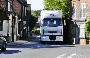 lorry taking up more than road